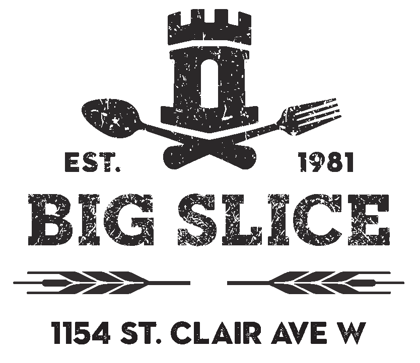 BIG SLICE LOGO - Rustic Castle Tower of Tafuri sitting atop a crossed fork and spoon, atop two strains of wheat and text saying: 1154 St. Clair Ave W