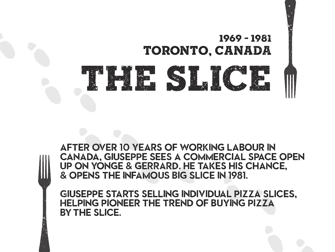 THE SLICE - After over 10 years of working labour in canada, Giuseppe sees a commercial space open up on yonge & gerrard. He takes his chance, & opens the infamous big slice in 1981. Giuseppe starts selling individual pizza slices, helping pioneer the trend of buying pizza  by the slice.