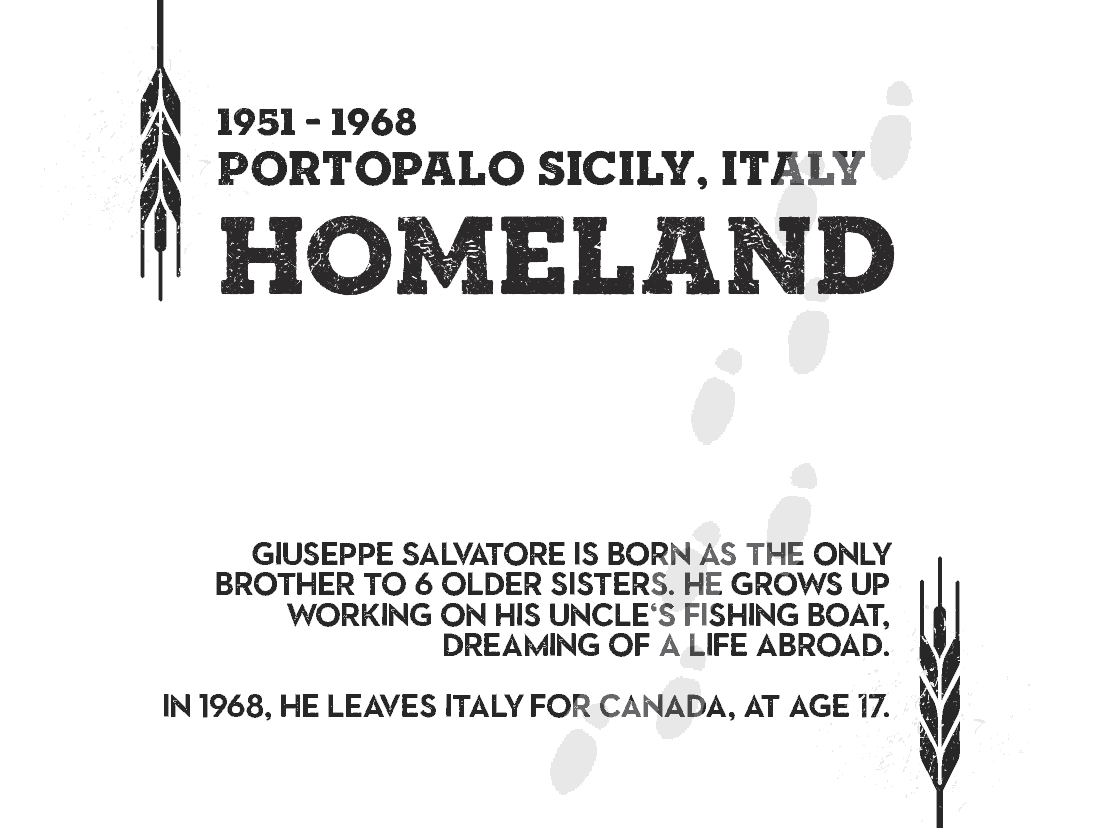 HOMELAND ITALY - Giuseppe salvatore is born as the only brother to 6 older sisters. He grows up working on his uncle's fishing boat, dreaming of a life abroad. in 1968, he leaves italy for canada, at age 17.