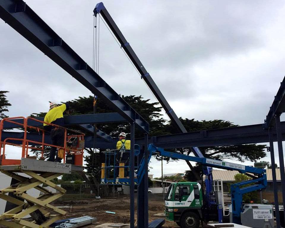 Crane erecting steel in geelong & melbourne area.