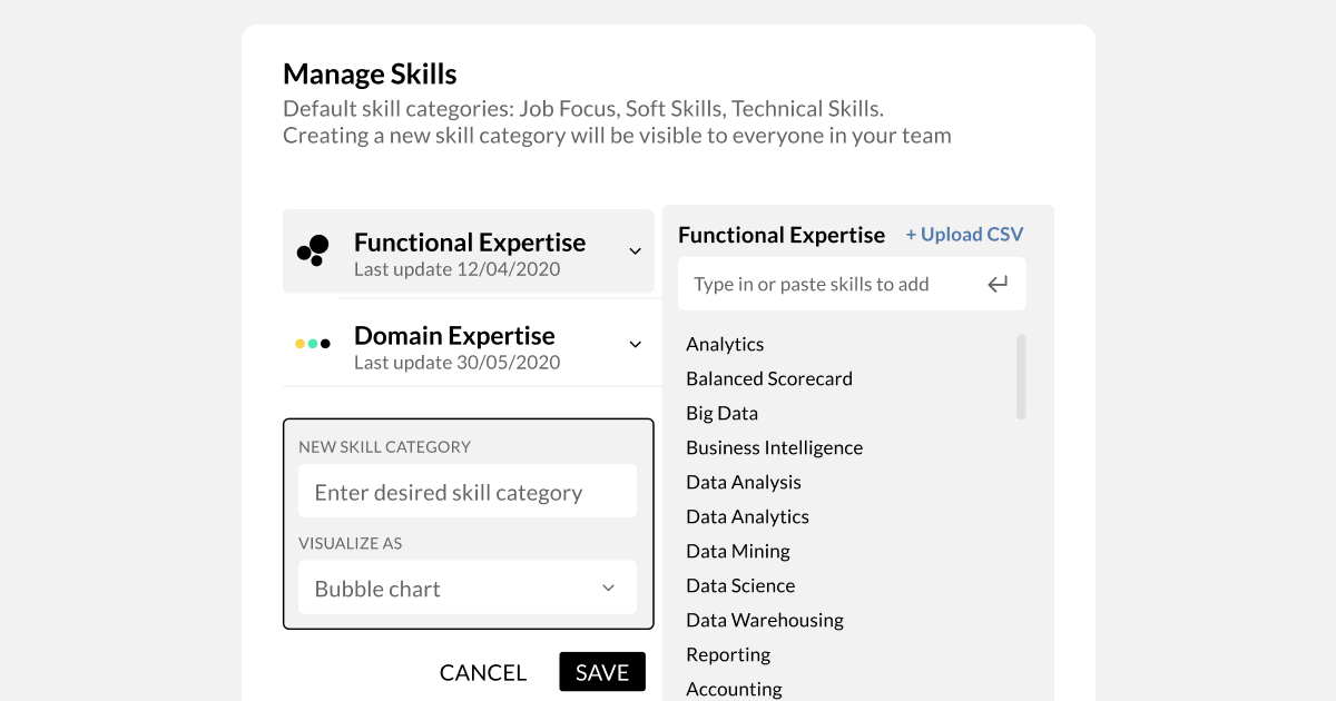 Choose how you want your team to visualise skill categories