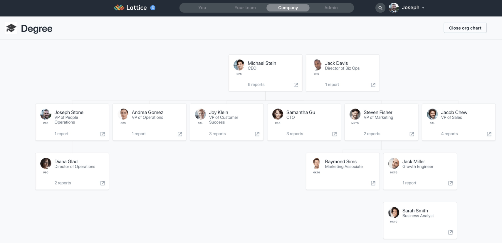Lattice Org Chart is clean and simple