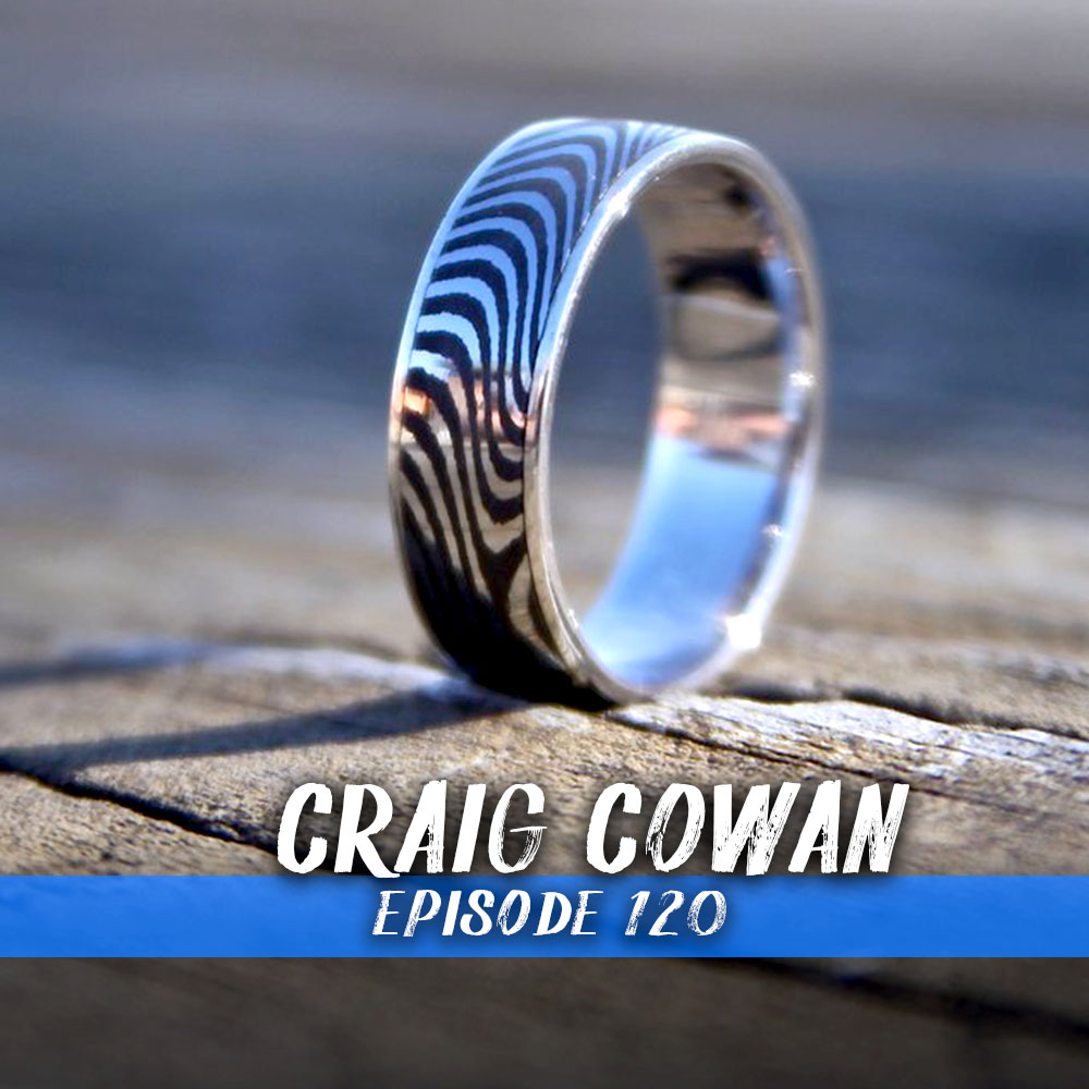 This week we chat with Craig Cowan from Barefoot Forge. We get into how he has built a business around custom forged Damascus steel wedding rings. Plus his adventures sailing above sharks and making sharks teeth.