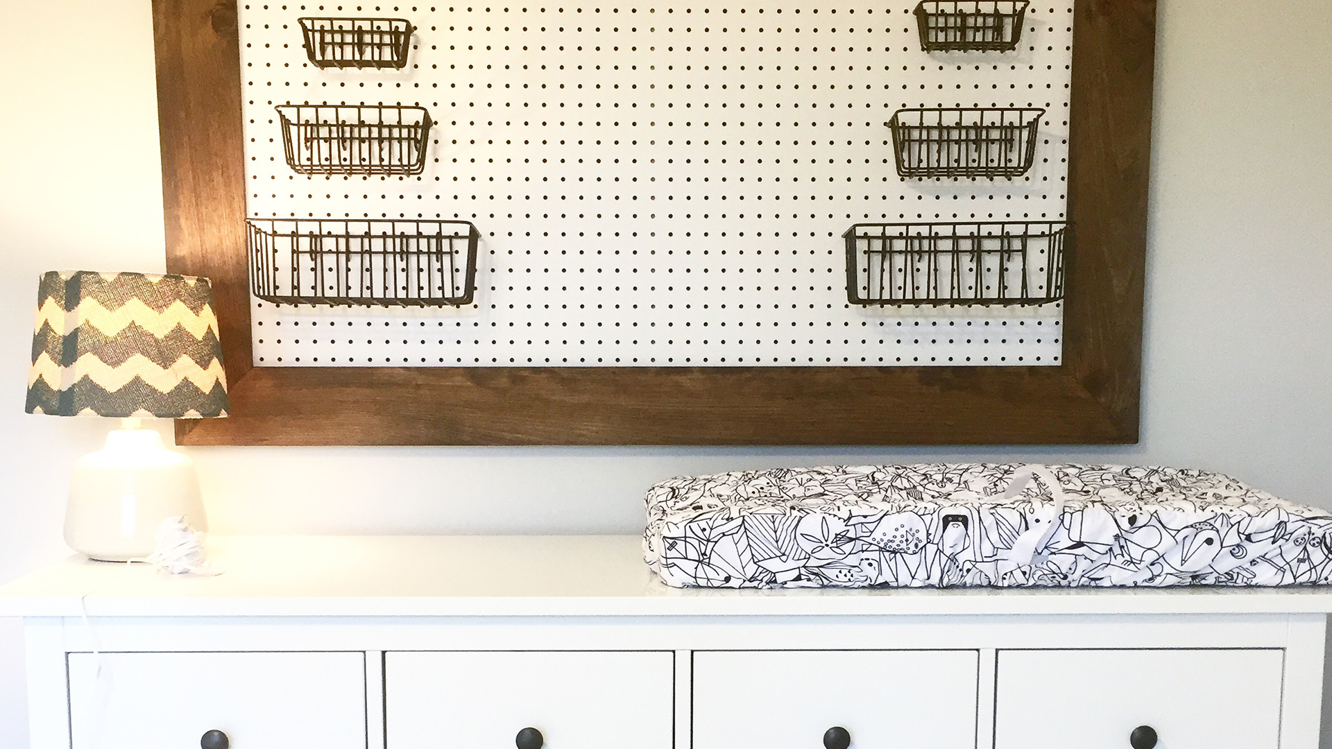 DIY Pegboard Organizer for a Nursery (or any room!)