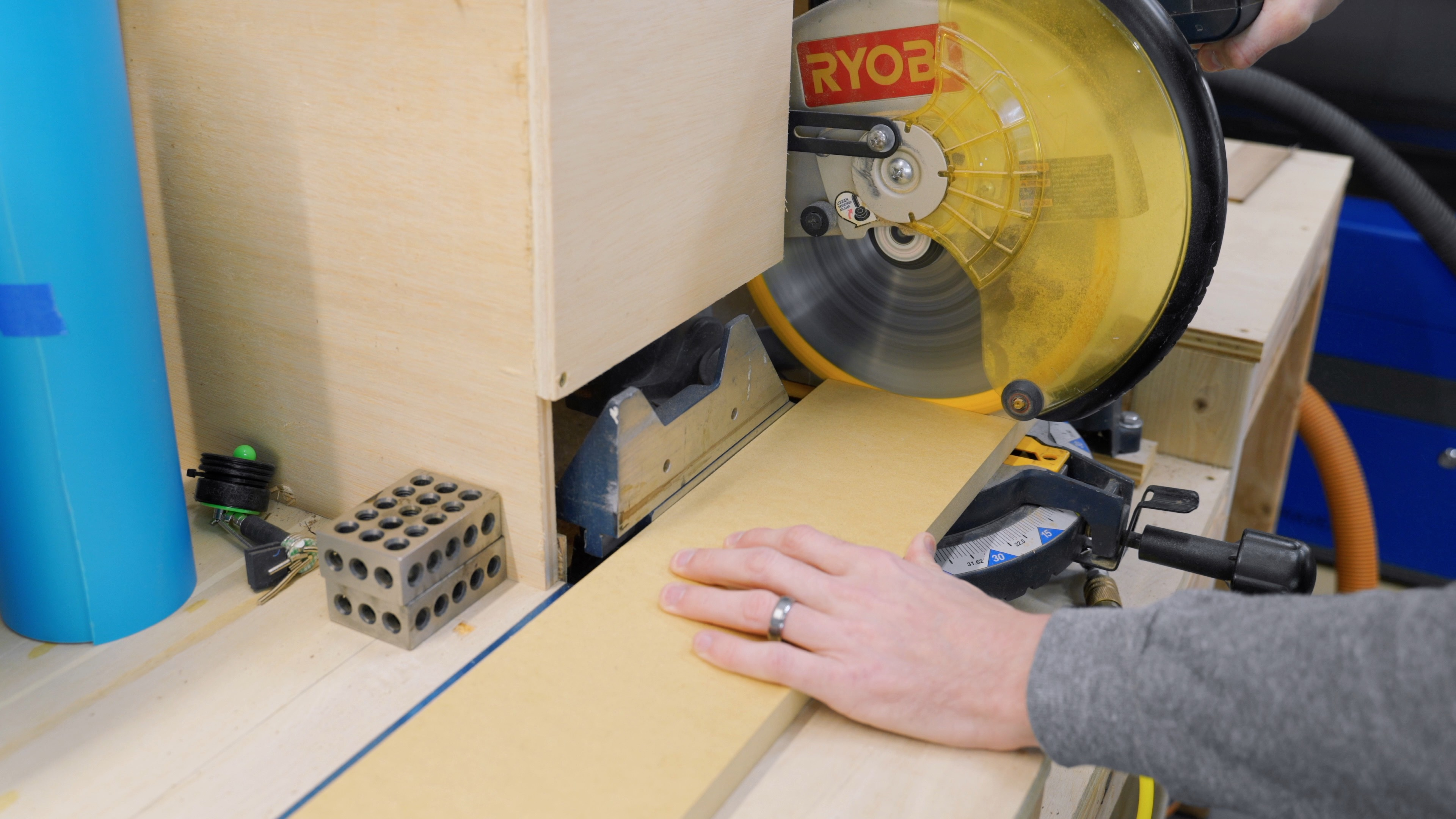Cut MDF to size on miter saw for custom bluetooth speaker