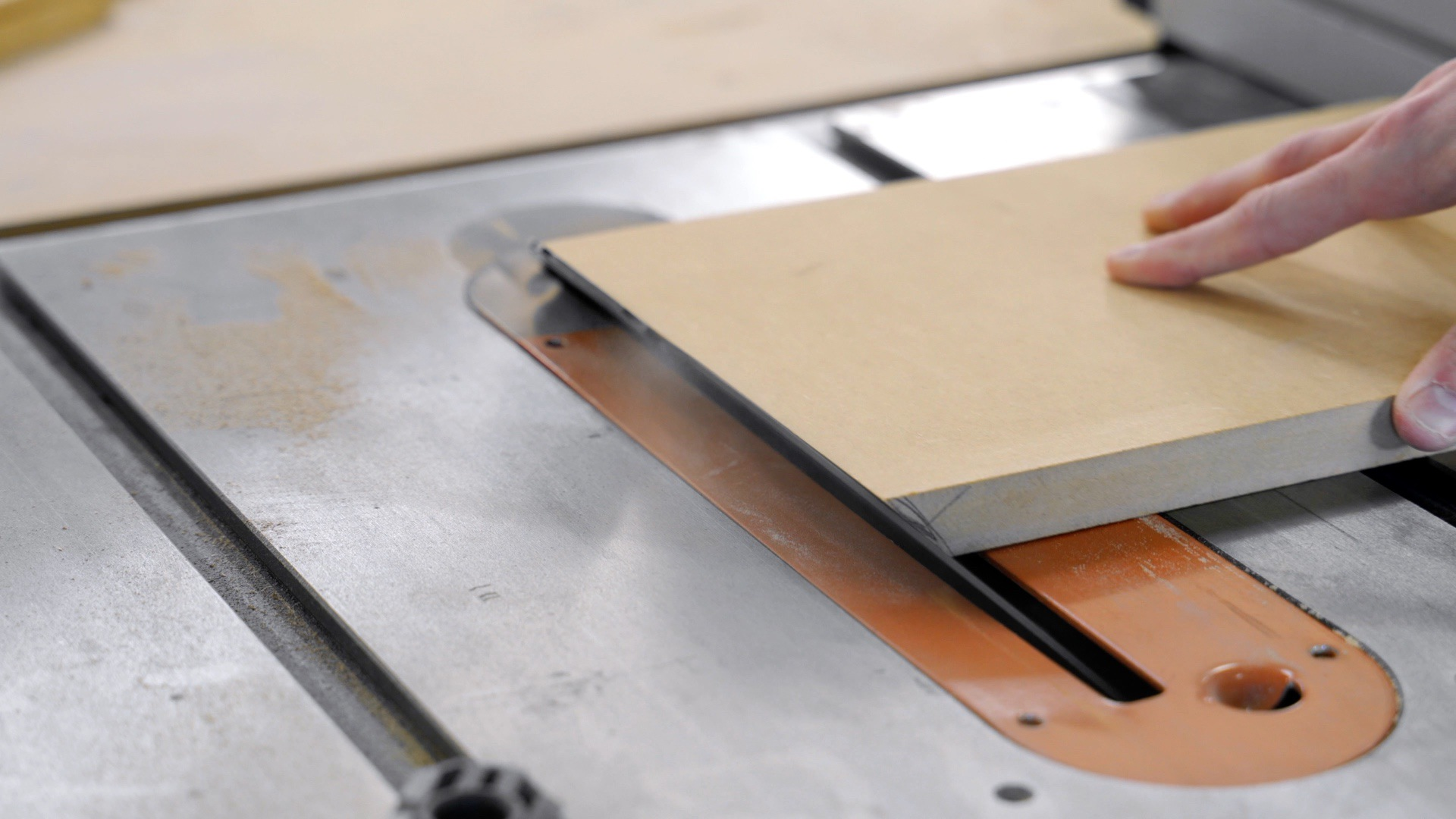 Cut MDF at an angle on table saw