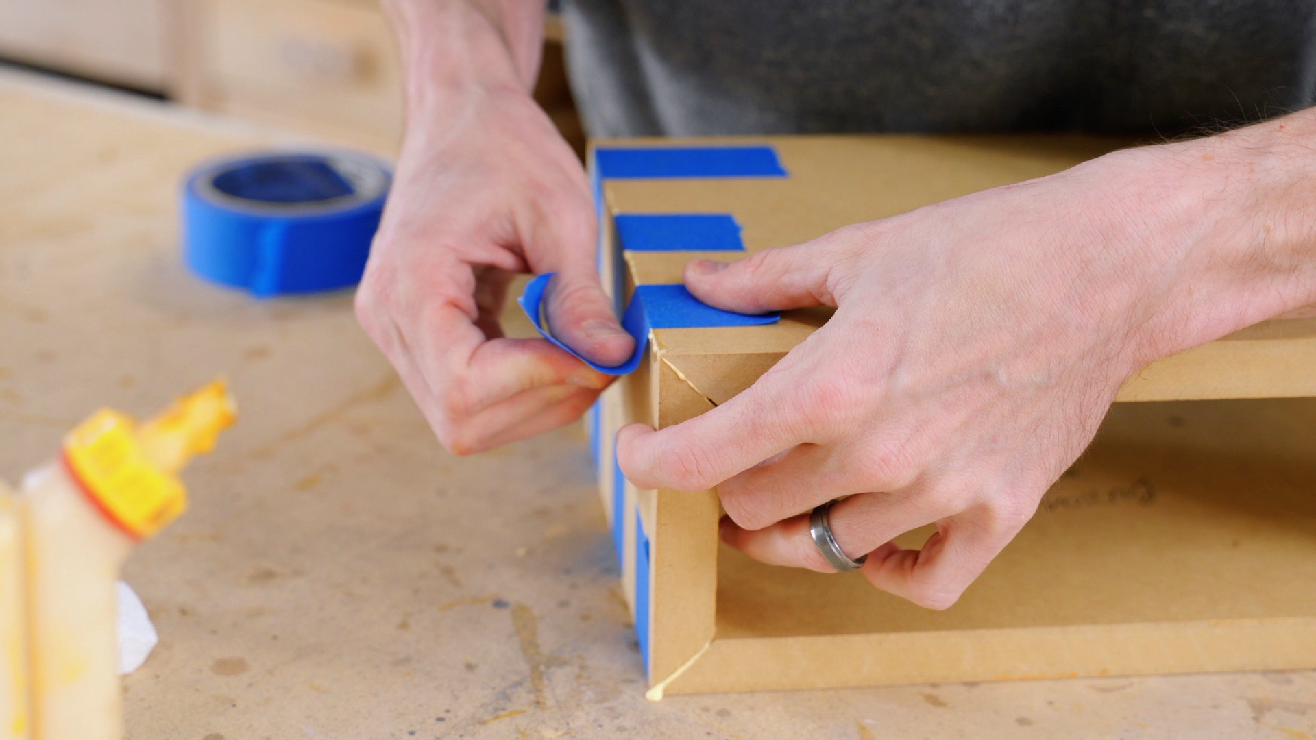 Use blue tape to assemble the Bluetooth speaker box together
