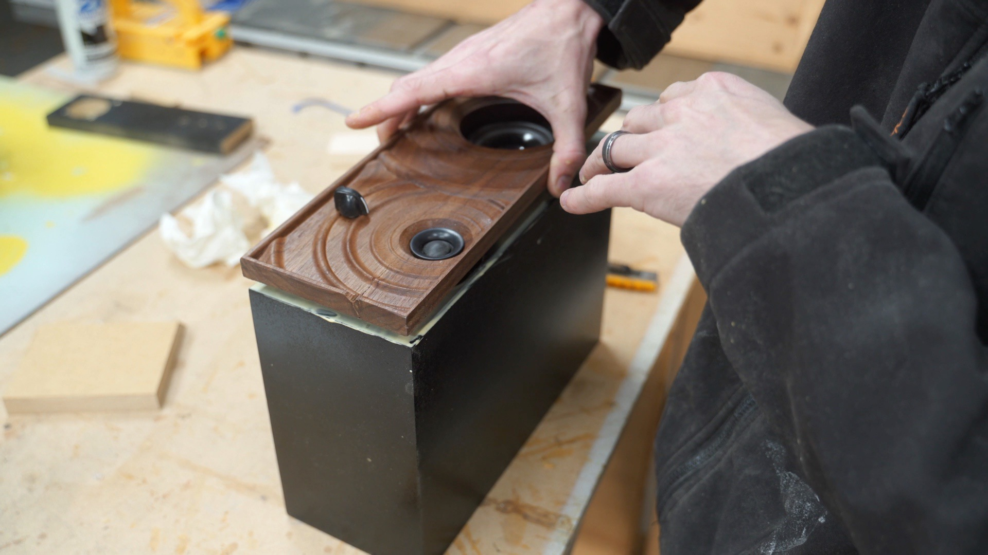 Glue the front face to the Bluetooth speaker box