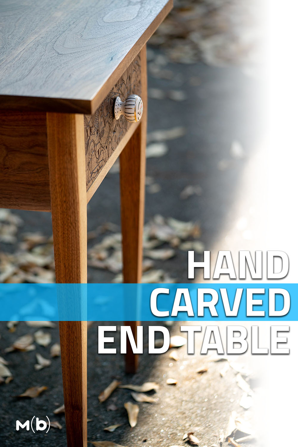 How to make a custom walnut end table with hand carved designs #furniture #handcarved
