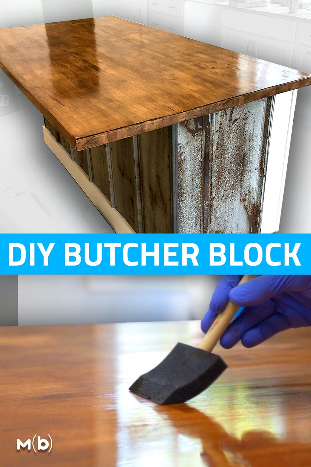 Step by step guide on how to build a butcher countertop perfect for the next kitchen or bathroom remodel. We also get into how to stain the wood to match! #woodworking #DIY