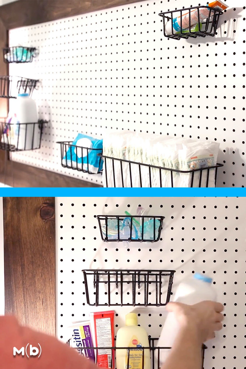 How to build a DIY pegboard wall that is perfect for the nursery. This cost around $25 in materials and is a great way to organize a changing station! #diynursery #woodworking