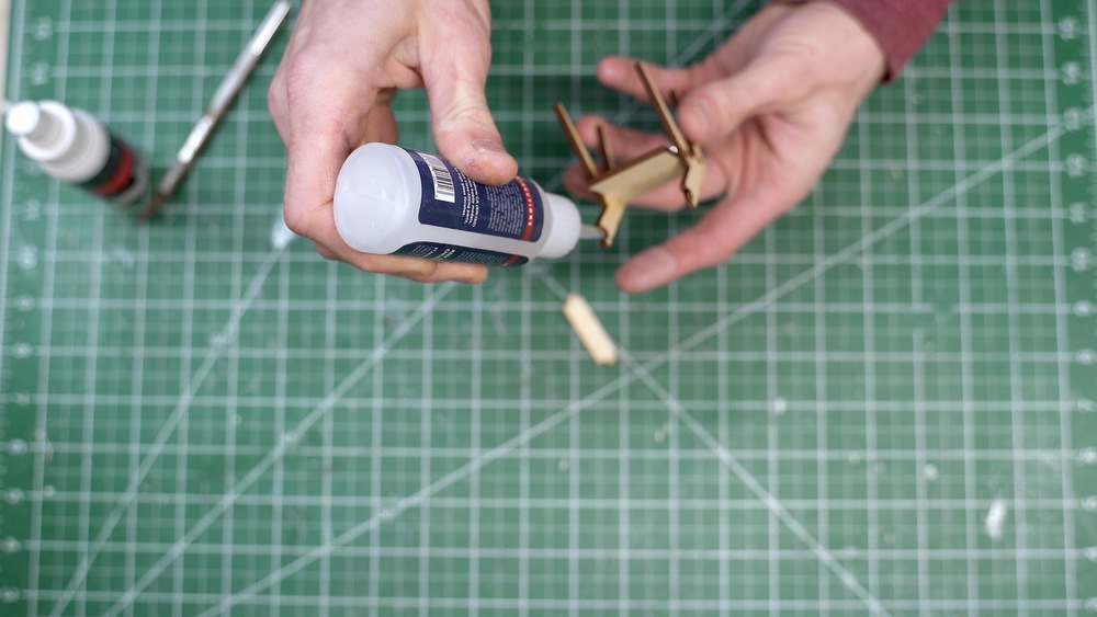 Assemble miniature furniture with CA glue