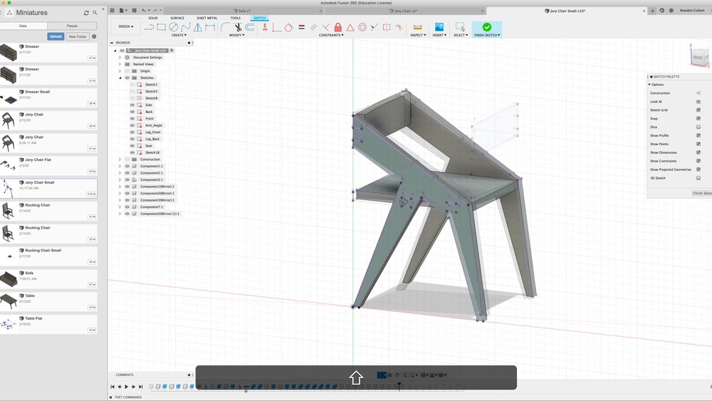 Get profiles for veneer skins in Fusion 360