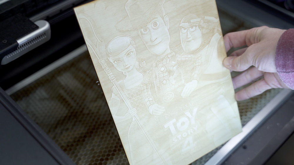 Laser engraved Toy Story 4 poster