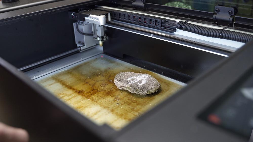 Mandalorian laser engraved rock