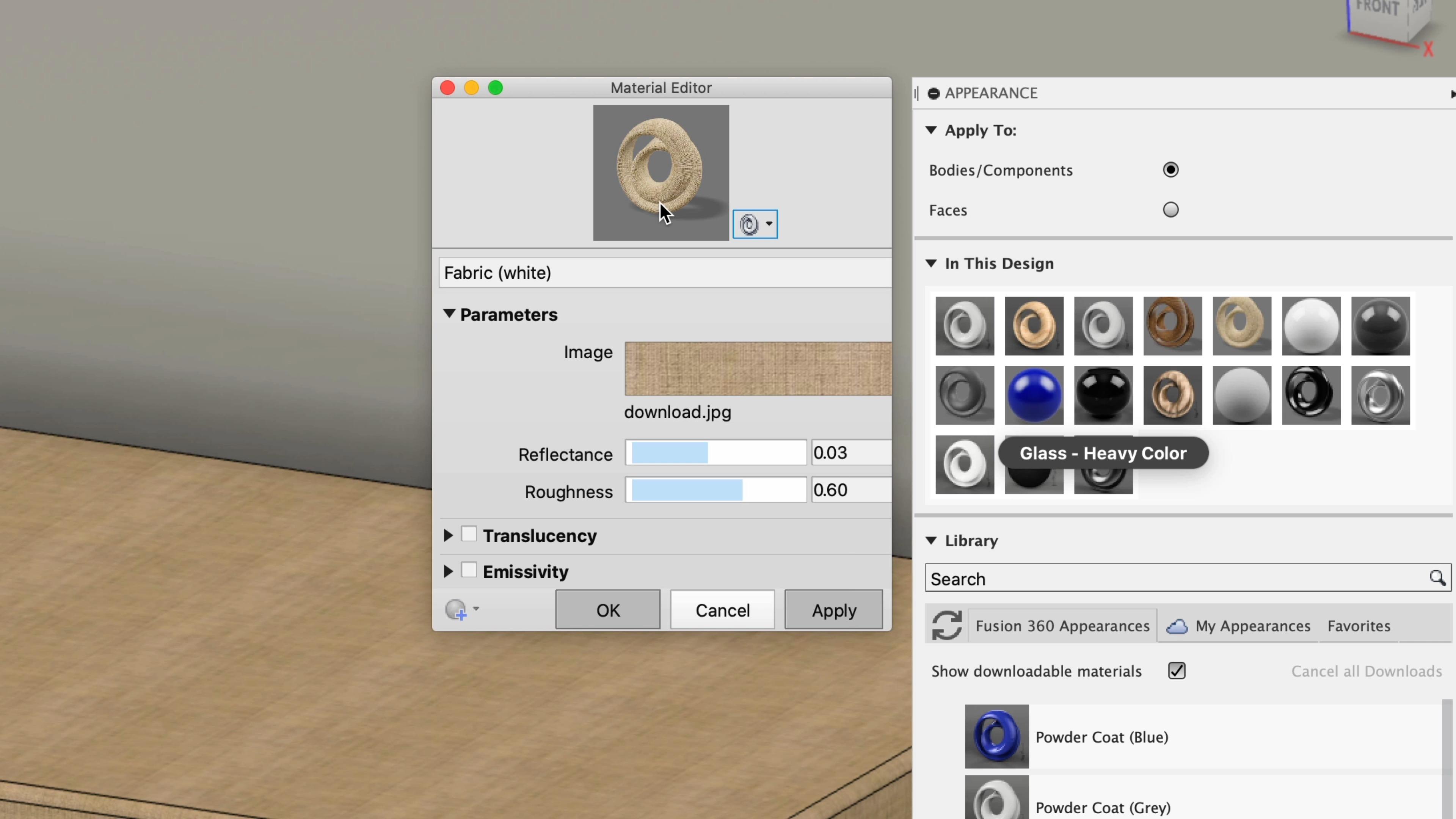 Material editor in Fusion 360
