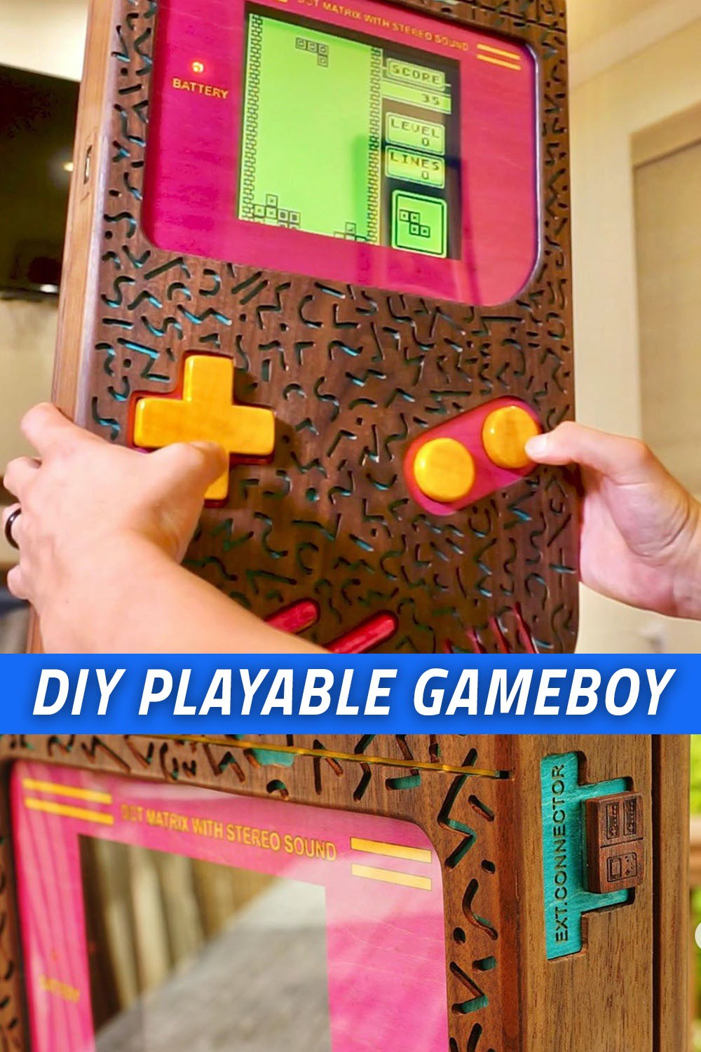 Build a giant DIY wooden Gameboy that actually works! #woodworking #gameboy #nerd #DIY