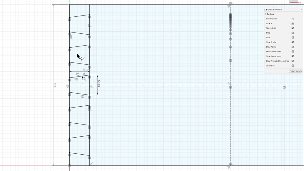 Create sketch for pin board