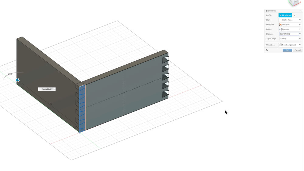 Extrude pin board for dovetails in Fusion 360
