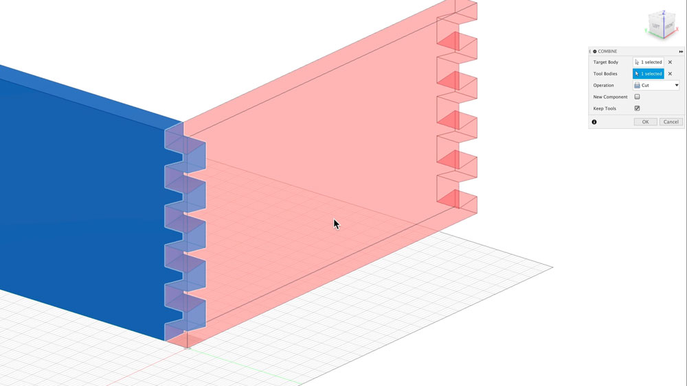 Use combine function to remove dovetails in Fusion 360