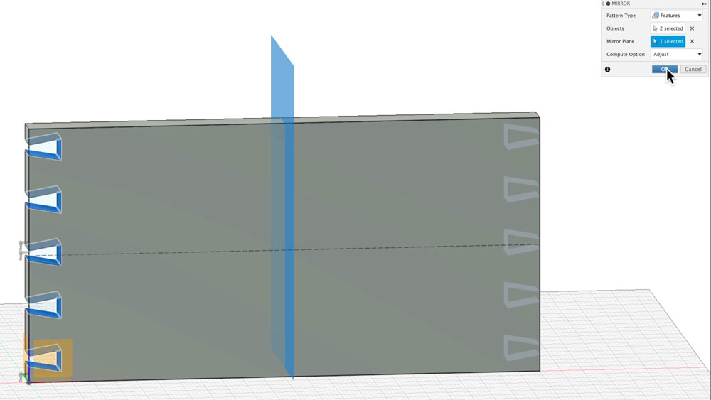 Mirror dovetail features