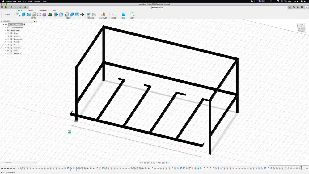 Removable bed frame in Fusion 360
