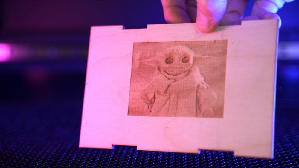 Baby Yoda raster engrave