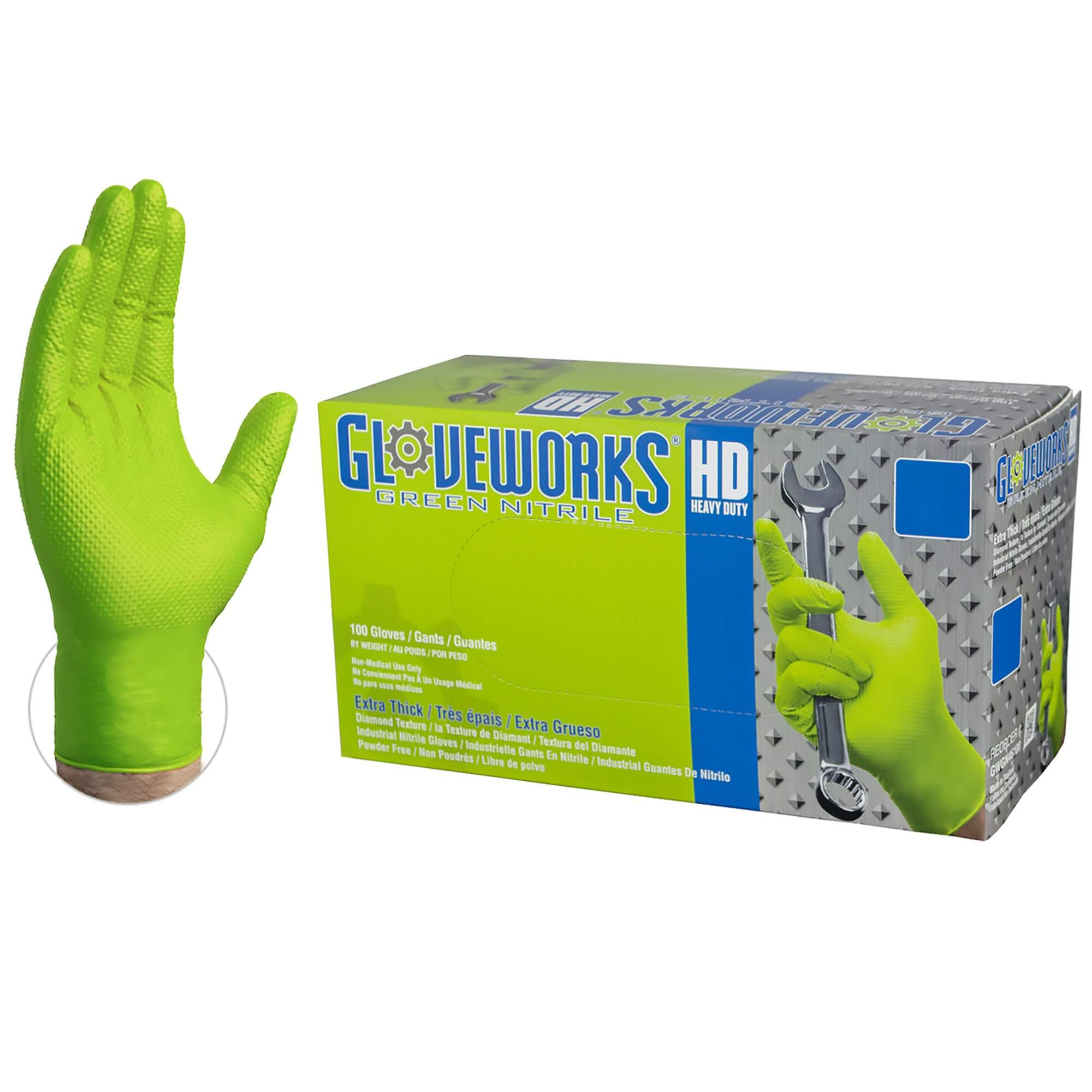 Gloveworks HD Green Nitrile Gloves