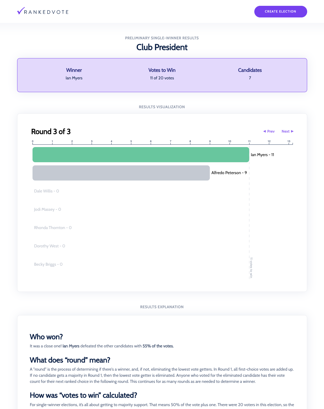 Example results page with summary and visualization