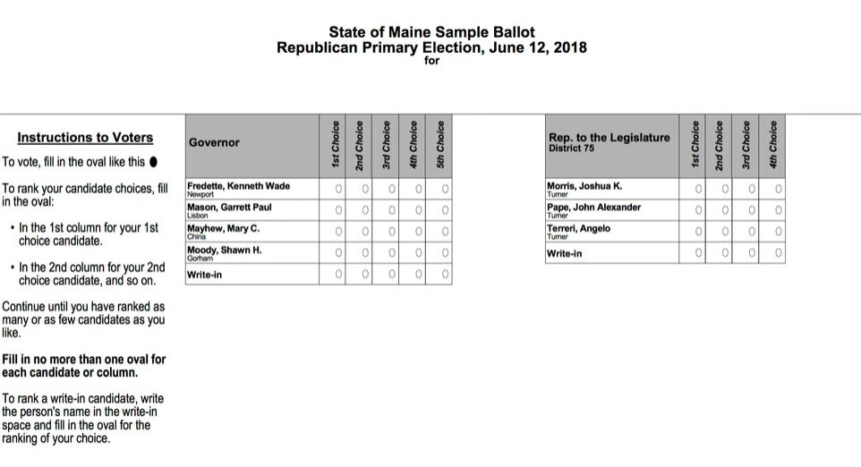 A sample ballot from Maine's 2018 Republican primary.