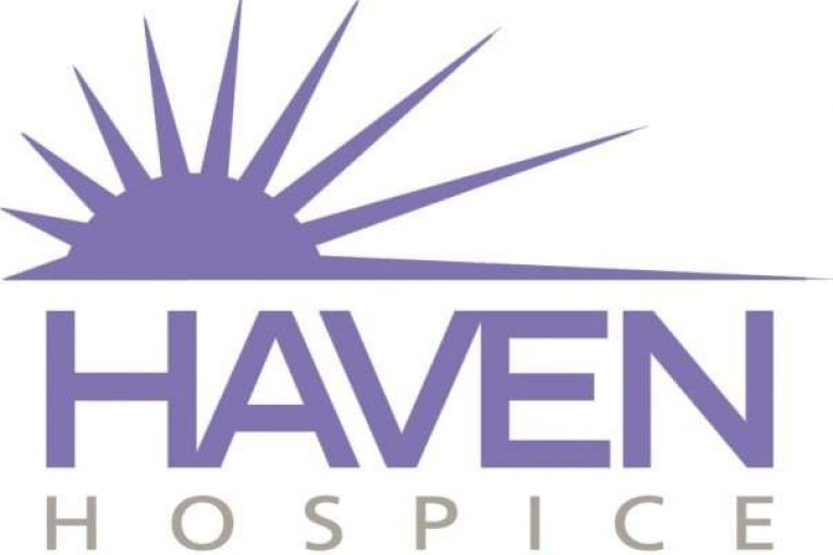 vector graphic of purple sun rising over   the words Haven Hospice