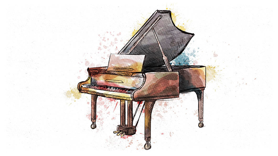 Aquarell-Illustration Klavier