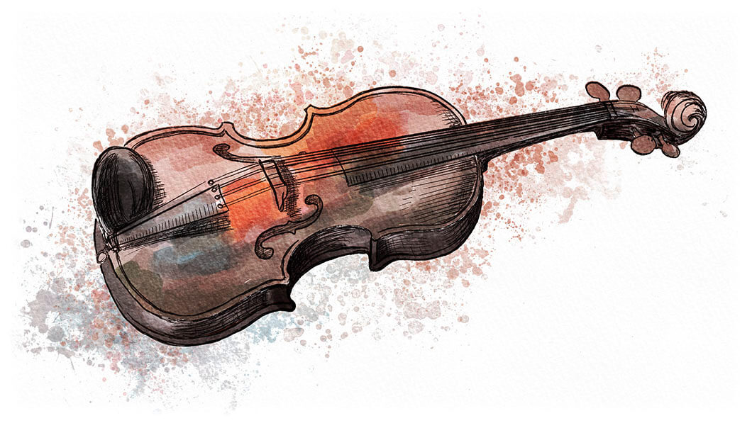 Aquarell-Illustration Violine