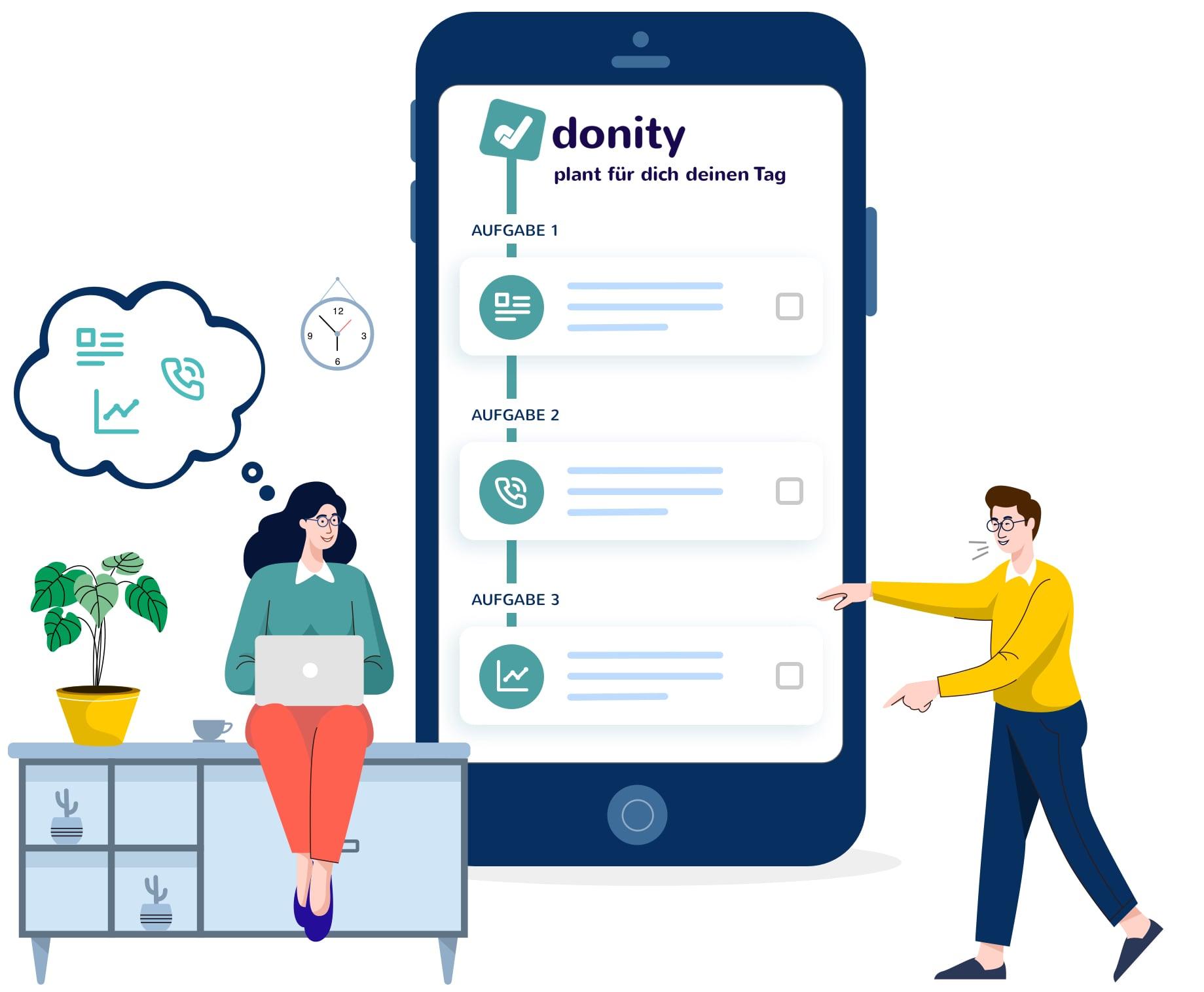 Der Wochenplan der donity Software auf einem Smartphone