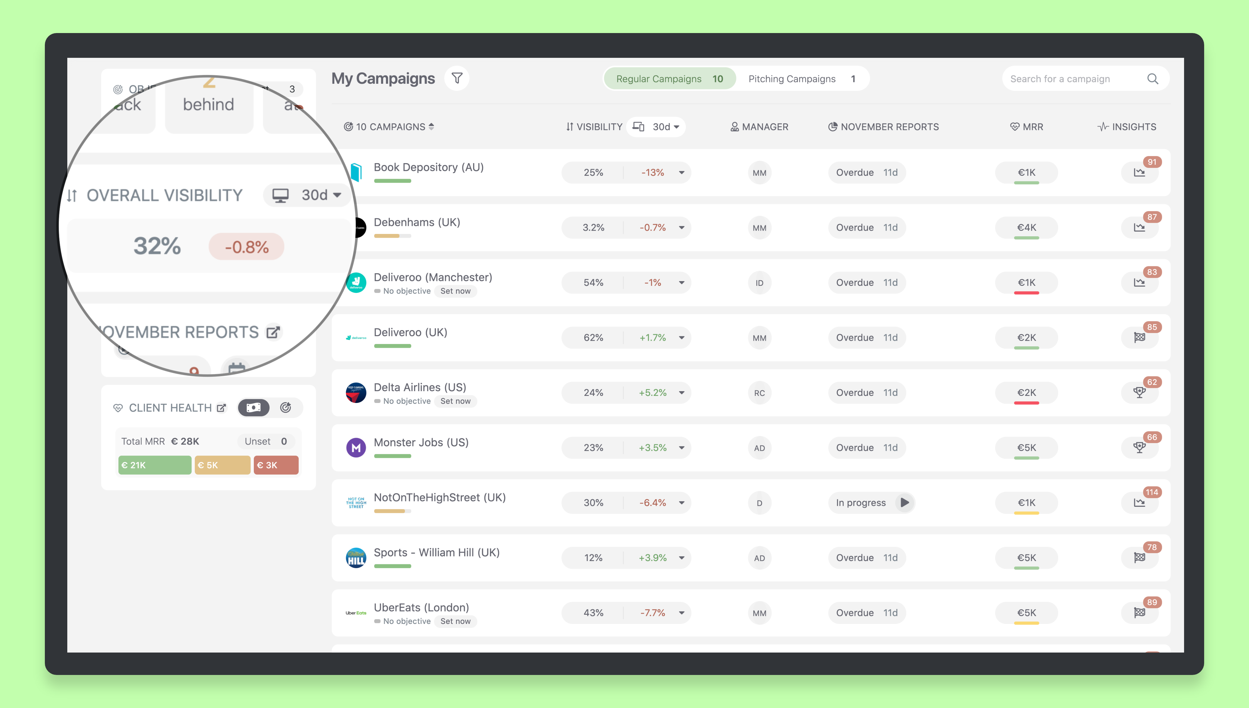 Agency Dashboard Visibility