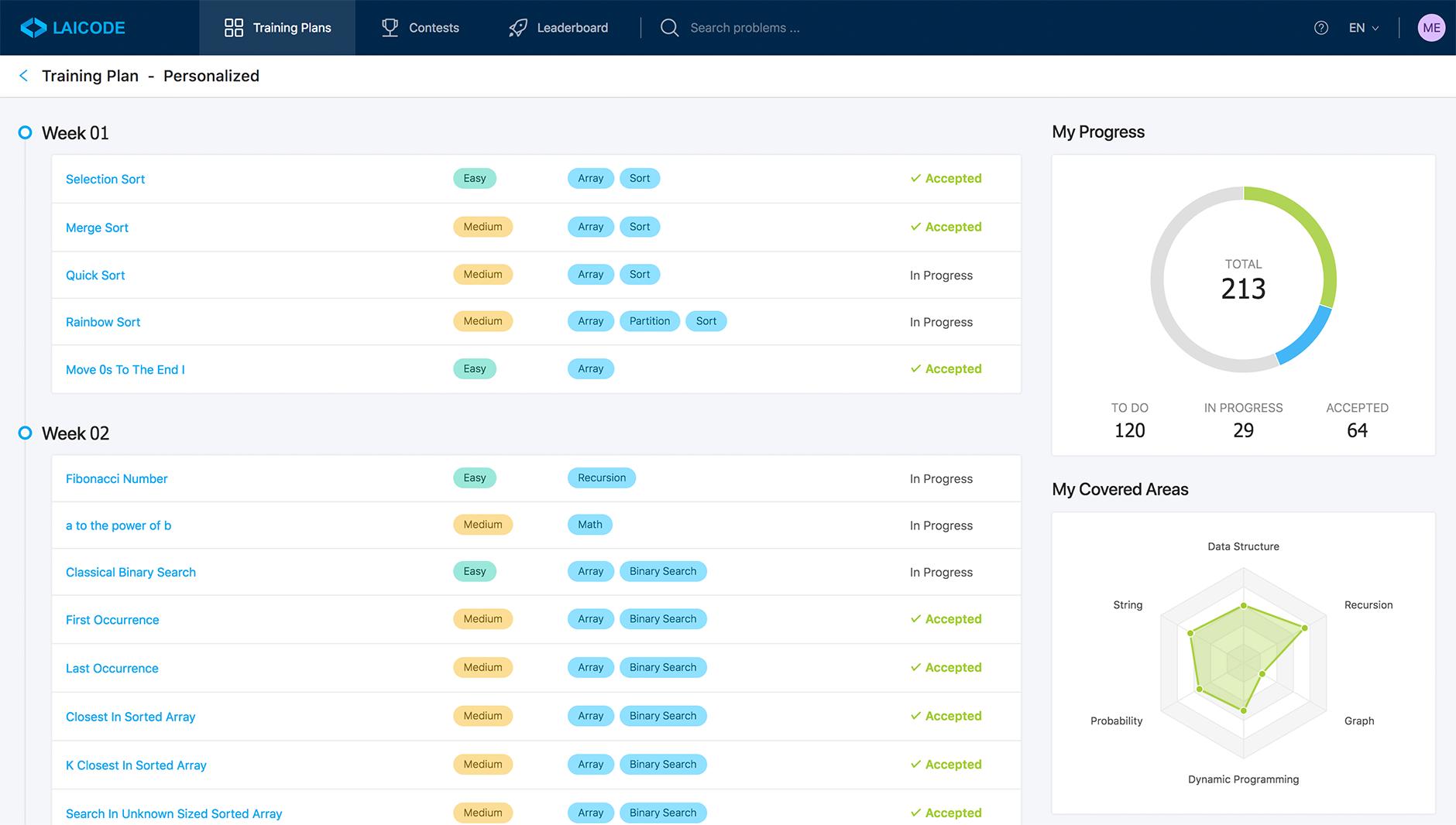 LaiCode training plan screenshot