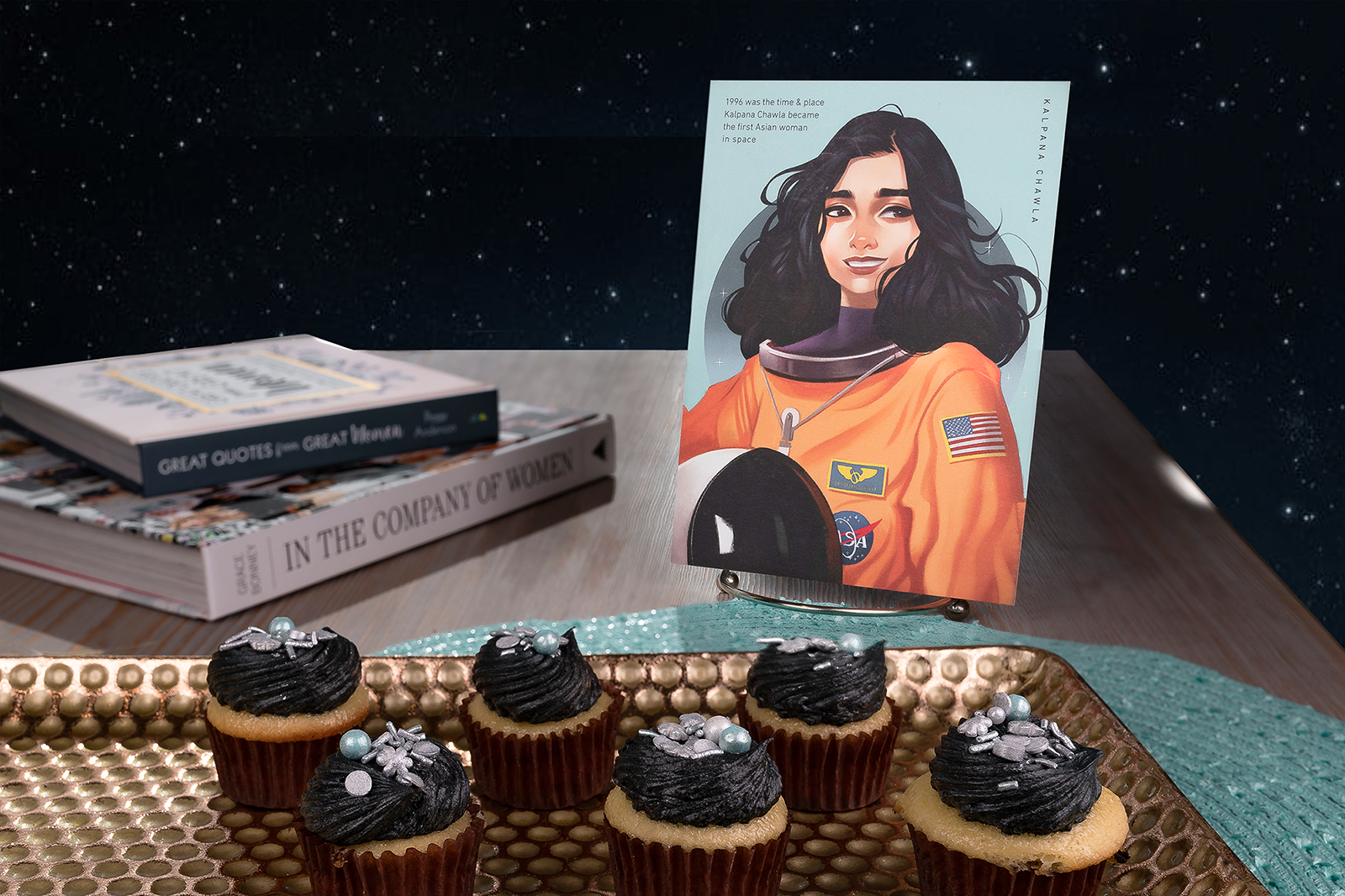 Hello Prosper Kalpana Chawla postcard with space themed cupcakes