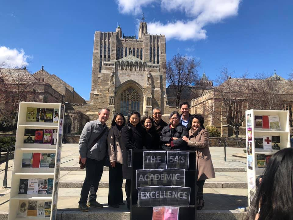 Yale University Ethnicity, Race, and Migration Program faculty visiting a pop-up bookstore hosted by the program's students.