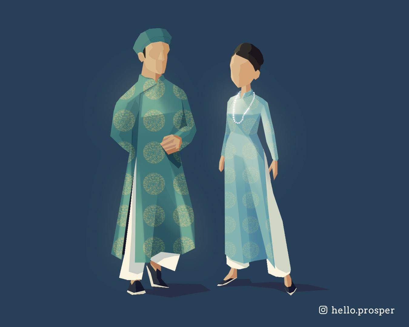 Hello Prosper teal ao dai male female illustration