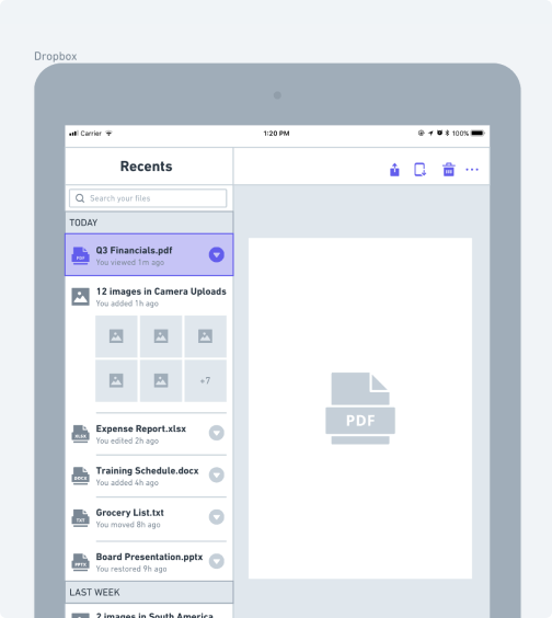 Dropbox iPad wireframe example