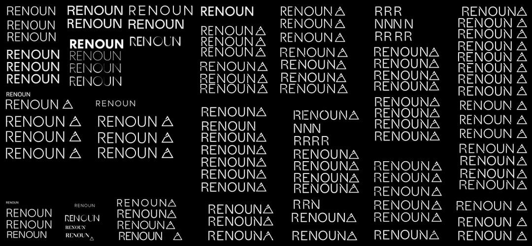 Renoun Skis, logo process documentation, type.