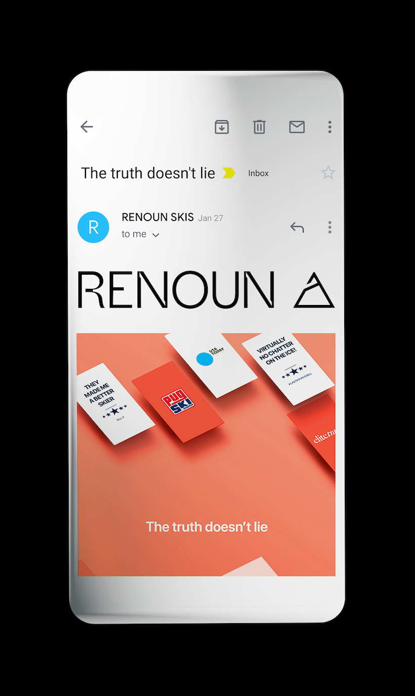 Renoun skis website on mobile