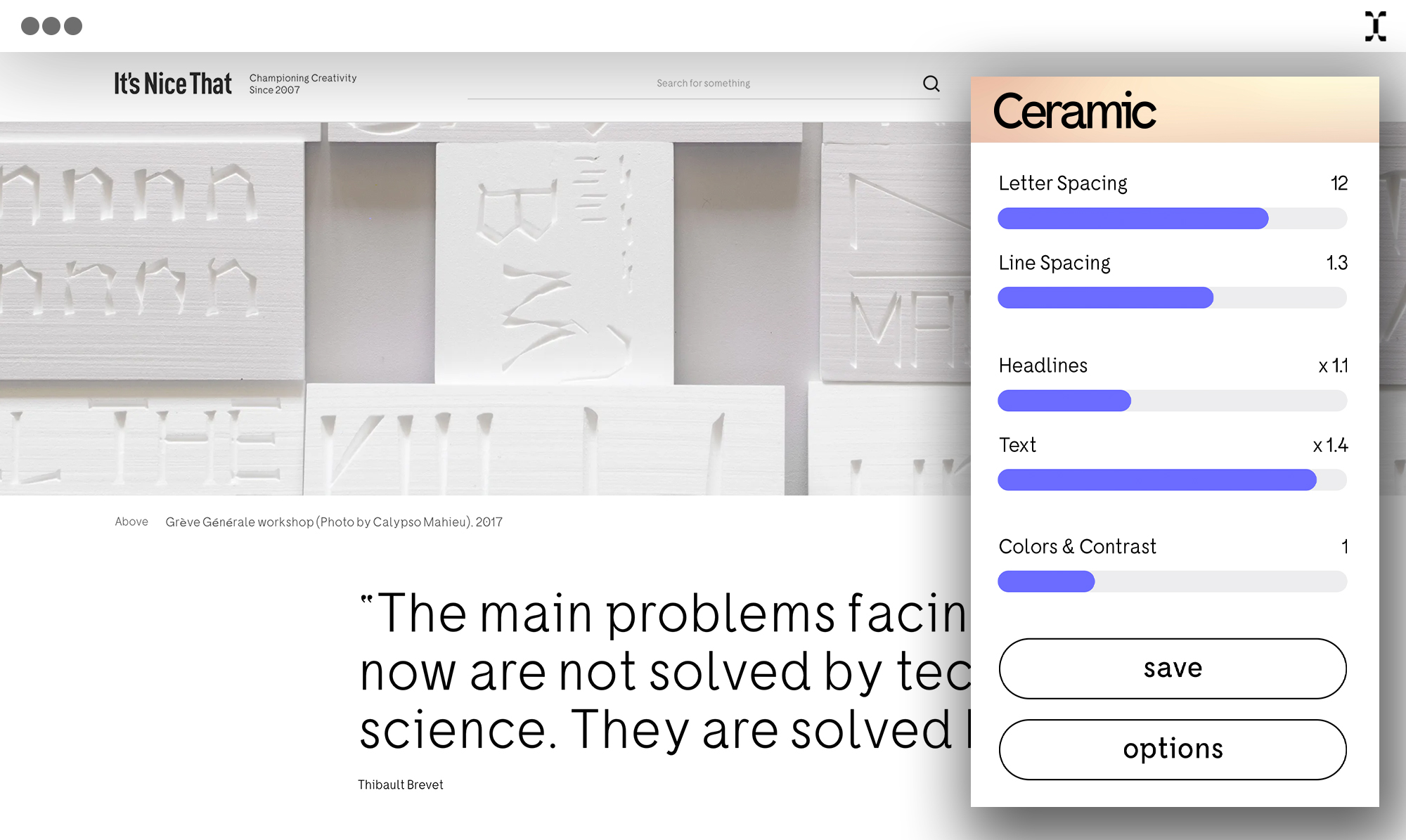 Browser extension adjusts web text to Ceramic.