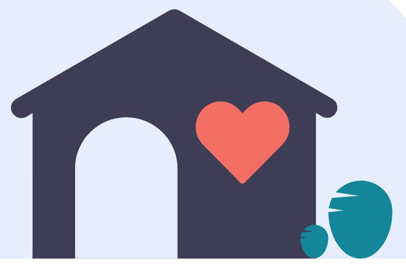 house with a love heart in it