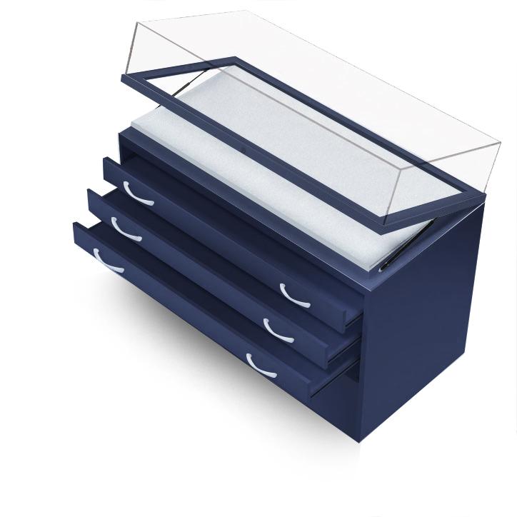 Горизонтальная витрина на тумбе с ящиками полного выдвижения и прямым колпаком