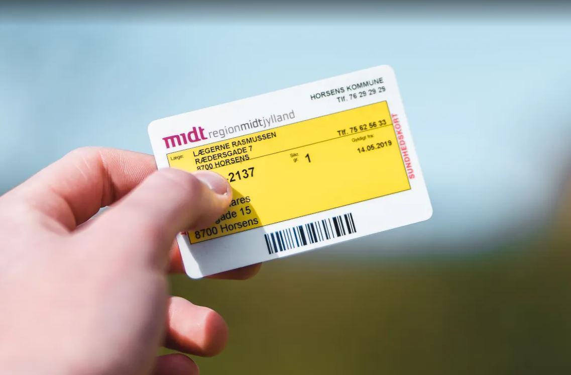 Yellow health card in Denmark.