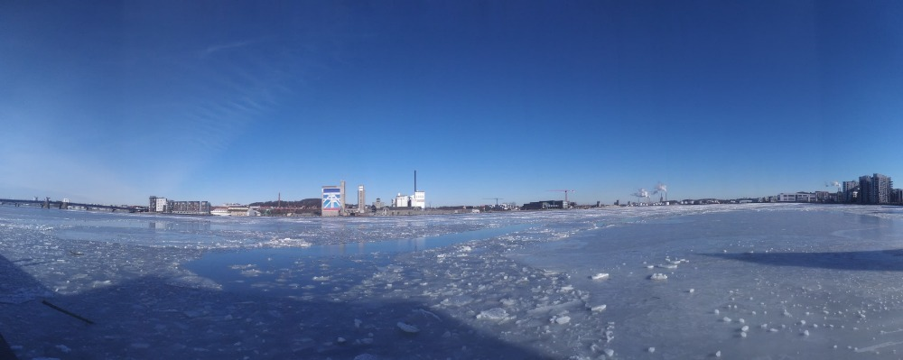 View of the harbor, with frozen water