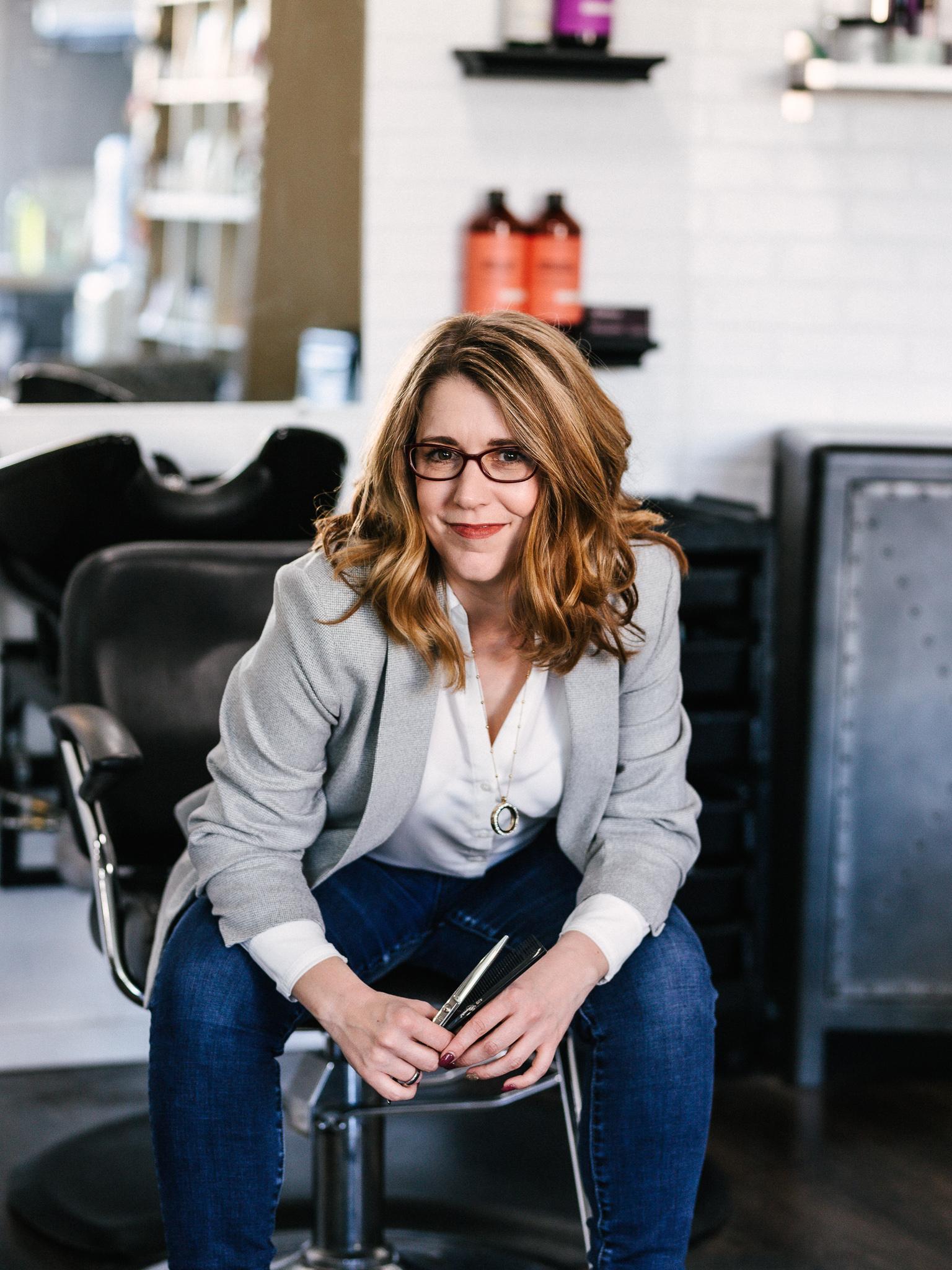 Mariona Farnsworth Portrait inside meraki hair salon