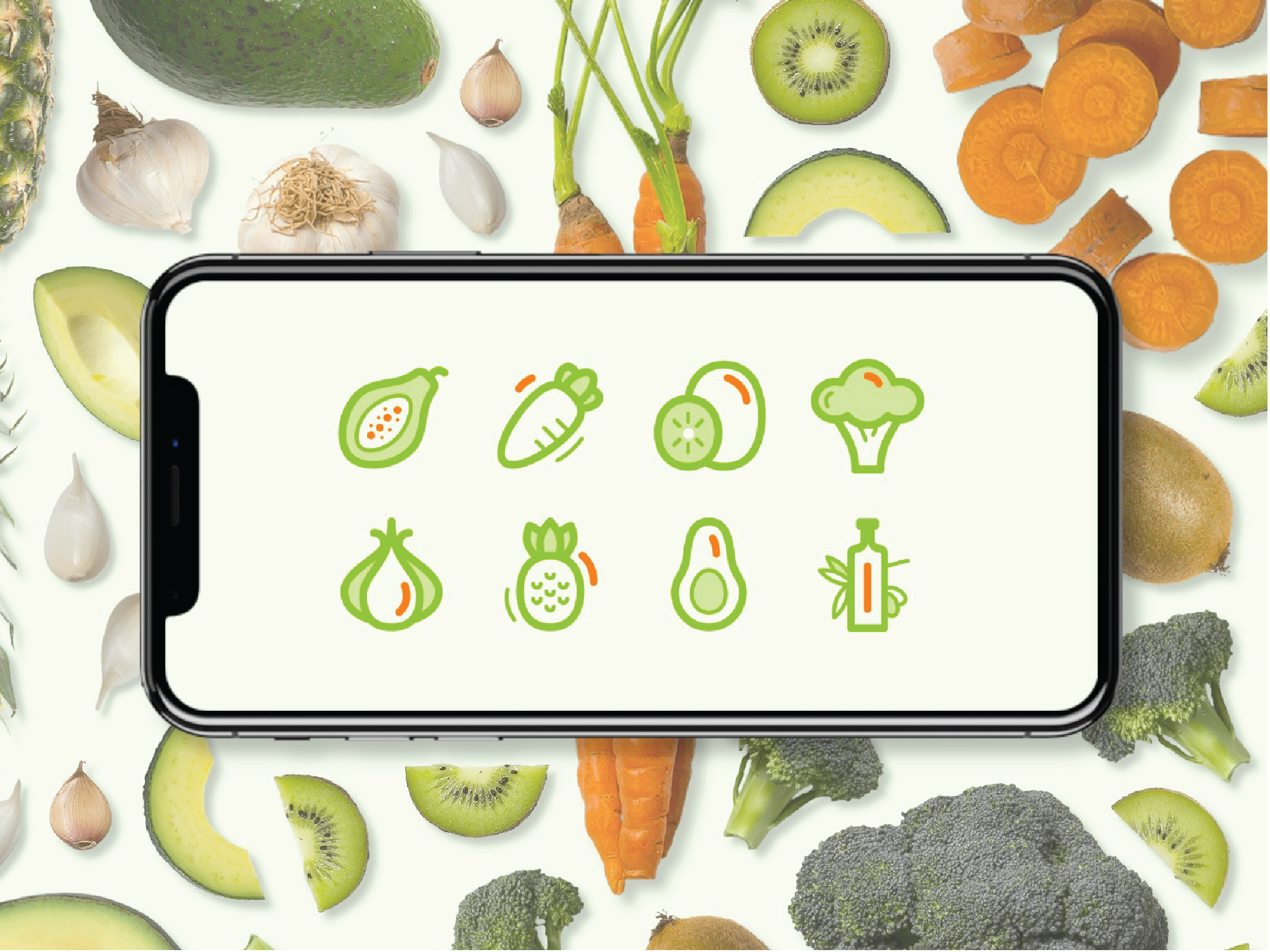 Clean vector illustrated superfood icons displayed on a mobile device and surrounded with superfoods.