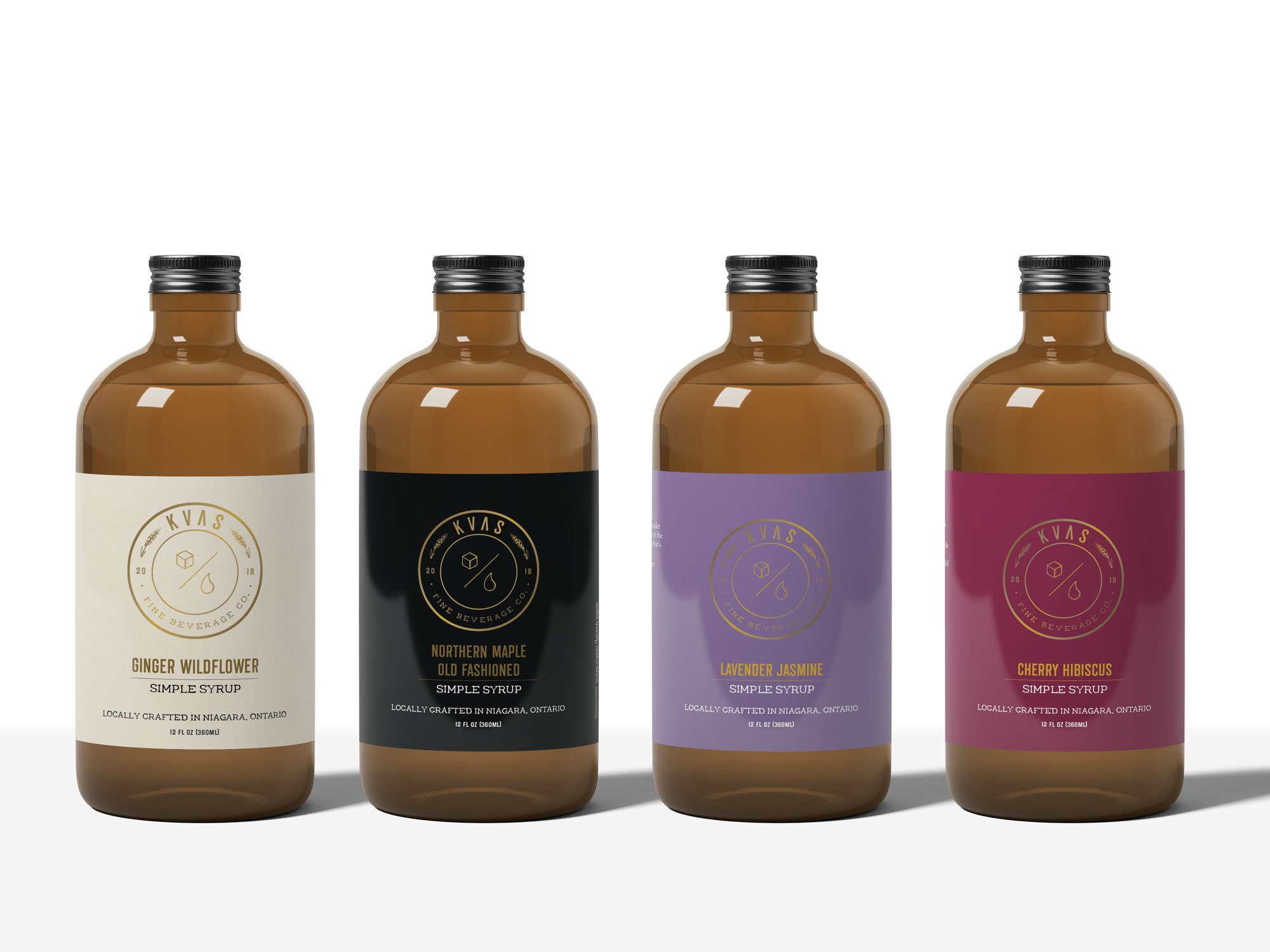 Collection of four Kvas Fine Beverage Co. simple syrup label designs.